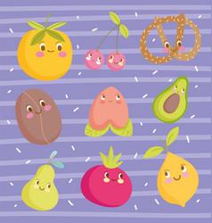 Cute food pattern design cartoon orange peach vector
