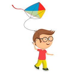cute little nerd boy playing with colorful kite vector image