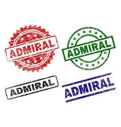 Damaged textured admiral stamp seals vector