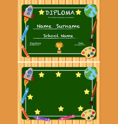 Diploma and frame template with green board vector
