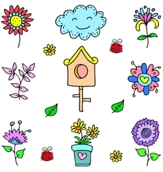 Doodle of spring set object vector