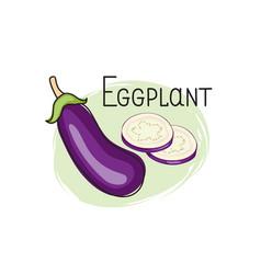 Eggplant icon half slice and full aubergine vector