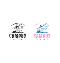 emblem campus baseball team vector image