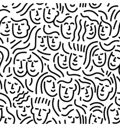 faces of people - seamless background vector image