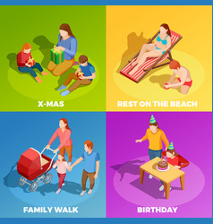 Family activities 4 isometric icons square vector