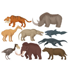 Flat set of different extinct prehistoric vector