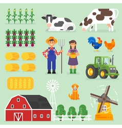 flat style farming set Farmers cows and chickens vector image