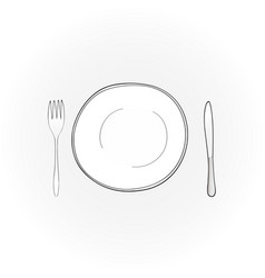 flat white plate with fork and knife vector image