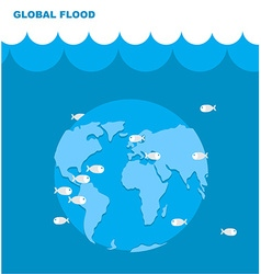 Flooding of planet Earth World in water Land under vector image