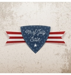 fourth july sale emblem with ribbon vector image