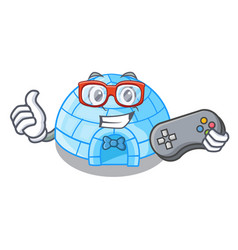 Gamer igloo ice house isolated on mascot vector