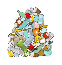 Garbage heap isolated pile rubbish stack trash vector