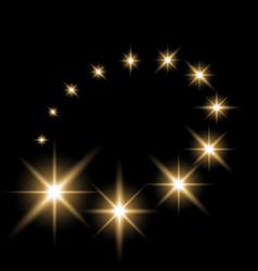Glittering flying stars golden color vector
