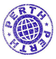 Grunge textured perth stamp seal vector