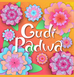 gudi padwa hindu new year hand lettering on the vector image
