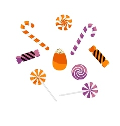 Halloween treat caramel candies set vector