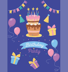 happy birthday cake candles balloons gifts vector image