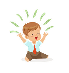 Happy boy businessman playing with money flying vector