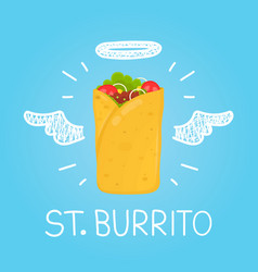 Heaven burrito concept st burrito with angel vector