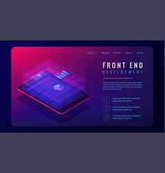 Isometric front end development landing page vector