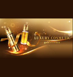 Luxury cosmetic products with golden glitter vector