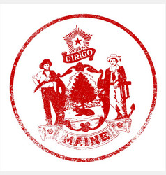 Maine seal rubber stamp vector