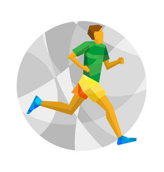 Marathon runner on gray background with patterns vector