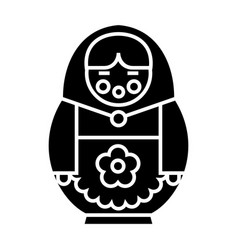 matryoshka icon black sign vector image