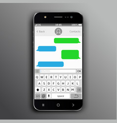 mobile phone with sms chat vector image