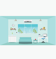 Modern home office interior vector