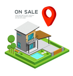 Modern house isometric with red point map vector