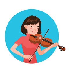 Musician playing violin girl violinist is vector