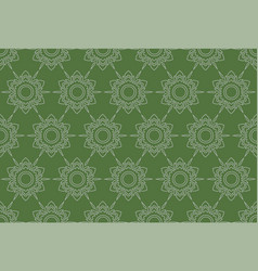 outline thai pattern floral seamless on green vector image