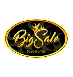 Oval black tag with big sale vector