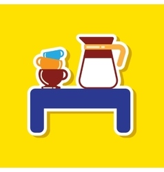 Paper sticker on stylish background coffee cup of vector