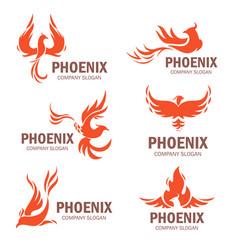 Phoenix company slogan flat set vector
