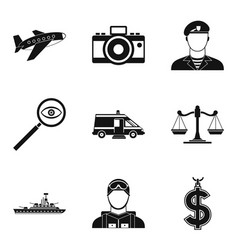 police officer icons set simple style vector image