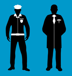 Policeman and doctor silhouette icon service 911 vector