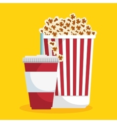 pop corn soda straw food cinema vector image