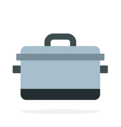 pot with lid flat isolated vector image