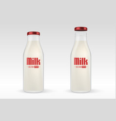 realistic closed and open full glass milk vector image