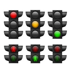 realistic traffic light led lights red yellow vector image