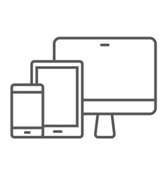 Responsive thin line icon computer and laptop vector
