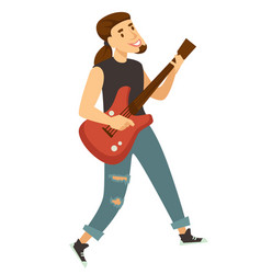 rocker guitar player or musician isolated male vector image