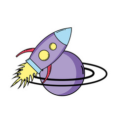 Saturn planet with rocket pop art style vector