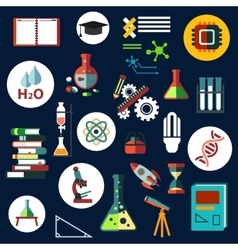 Science flat physics and chemistry icons vector