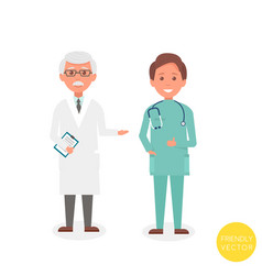 Senior man doctor with young man doctor stand vector