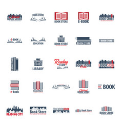 set of book store logo education and book emblem vector image