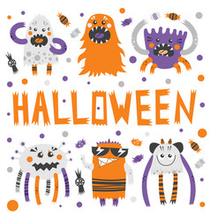 Set of scary but cute halloween vector