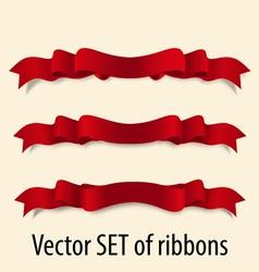 Set red festive ribbons vector